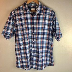 Dockers Blue Striped Plaid Button Down Cotton L